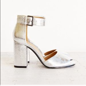 Urban Outfitters Metallic Silver Ankle Strap Heels